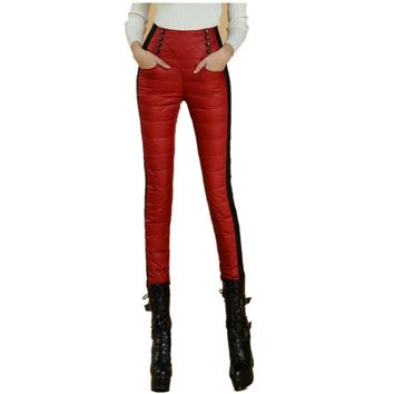 Fashion High Waisted Skinny Women Pants Casual Winter Outer Wear Women's Down Pants Female 90% Thicken Red Warm Trousers B7O701M