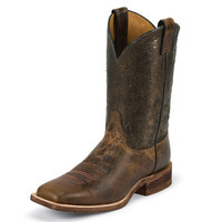 Justin Mens Bent Rail Wide Square Toe Cracked Finished Cowboy Boots