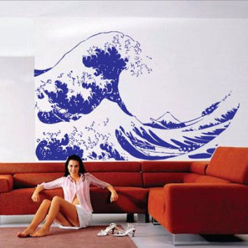 Huge Kanagawa Wave Wall Decal Hokusai Wall Decal Sticker Art Graphic