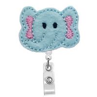 Cute Blue Pink Elephant - Name Badge Holder - Nurses Badge Holder - Cute Badge Reels - Unique ID Badge Holder - Felt Badge - RN Badge Reel