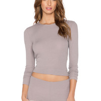 Feather Weight Rib Crew Neck Long Sleeve in Grey Pearl