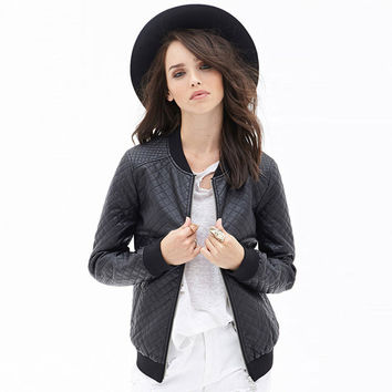 Black Quilted Zipped Faux Leather Baseball Jacket