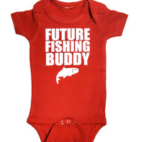 Future Fishing Buddy Baby Romper, Bodysuit, Baby Shower Gift, Funny Baby Clothes, Baby Boy, Baby Girl, Baby Fishing with Daddy
