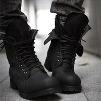 Retro Combat boots Winter England-style fashionable Men's High Top Black shoes
