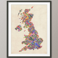 Great Britain UK City Text Map, Art Print 18x24 inch (300)
