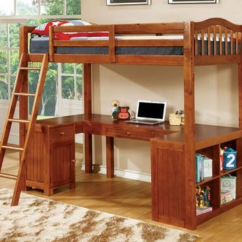 Furniture of america CM-BK265OAK Dutton collection oak finish wood twin bunk bed with lower workstation u shaped desk underneath