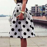 Black Polka Dot Pattern On White Fabric Knee-Length Full Skirt