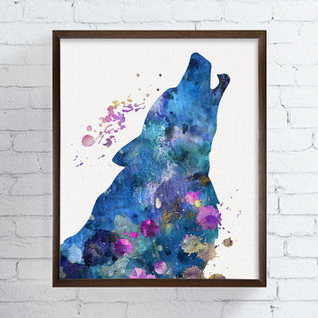 Wolf Wall Art, Watercolor Wolf, Wolf Portrait, Howling Wolf, Wolf Poster, Wolf Painting, Wolf Wall Decor, Animal Painting, Wildlife Animals