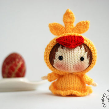 Yellow Chicken Doll. Easter Doll.  - pdf knitting pattern. Tanoshi series toy.