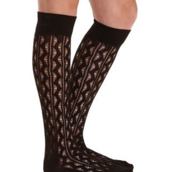 Pointelle Knee-High Socks by Charlotte Russe