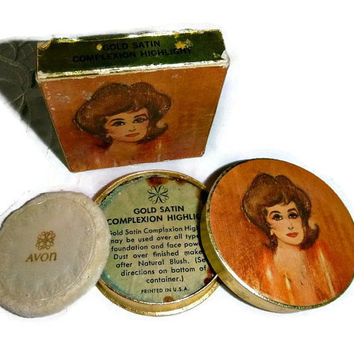 60's Avon Makeup Powder Box Vintage Avon Collectible Vanity Beauty 1960's Mod Glam Highlight Face Powder Cosmetics Unused in Box