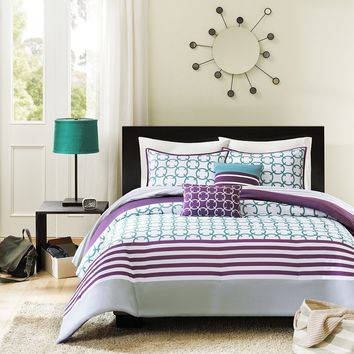 Twin/Twin XL 4 Piece Comforter Set Purple White Teal Circles & Stripes