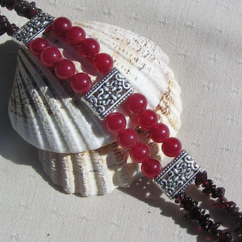 "Gemstone Crystal Bracelet - Cherry Quartz & Red Garnet ""Cherry Pie"""