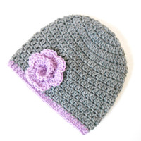 Gray Crochet Baby Hat with a Purple Flower -  Crochet Baby Beanie - Newborn Crochet Hat - Baby Shower Gift for Girl - Newborn Baby Beanie