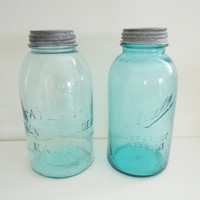 Atlas Strong Shoulder Blue Glass Jar Canning Jar with Zinc Lid Wedding Decor