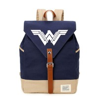 Wonder Woman casual backpack Canvas bag  SchoolBag travel Shoulder Bag Rucksacks for Teenagenrs women girls
