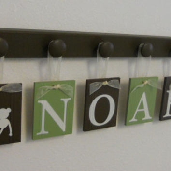 Monkey Nursery Decor, Safari - Zoo - Jungle Animal Nursery, 6 Personalized Green Brown Hanging Letter Baby Boy Name Sign NOAH with Monkeys