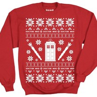 Doctor Who Tardis Police Box Pattern Ugly Christmas Sweatshirt (Adult XXX-Large)