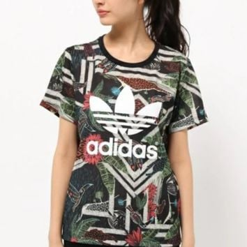 Adidas Camouflage print women fashion tops sports shirt blouse