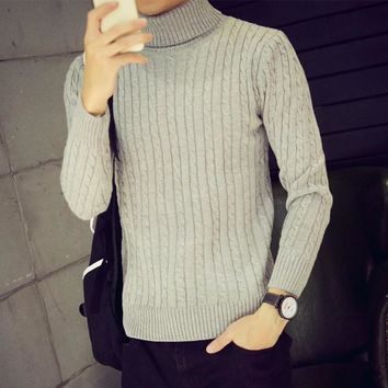 Mens Trendy Slim Turtleneck Sweater