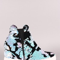 Velvet Holographic Sequins High Top Wedge Sneaker