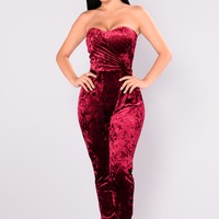 Dinner Party Velvet Jumpsuit - Wine