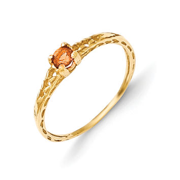 Size 3 14K Yellow Gold 3mm Genuine Citrine Birthstone Girls Ring
