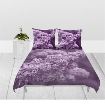 Duvet Cover - 3 different sizes, Without Insert, Bedroom, Home decor, Lilac, Flower, Floral, Spring, With or Without Shams, Blossom, Nature