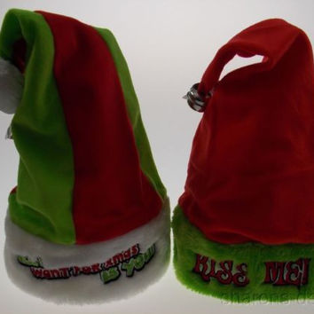 Set 2 Santa Hats Adult All I Want For Xmas Is You Kiss Me Bell Christmas Holiday