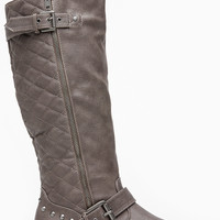 TaupeFaux Leather Calf Length Quilted Double Buckled Boots