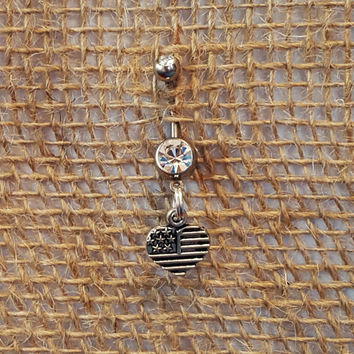 American Flag Heart Belly Button Ring