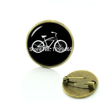 Sports bike silhouette pins vintage ethnic style bicycle car tractor picture brooches men women hipster accessories badge T640