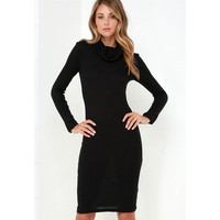 Long Sleeve Black Sweater Dress