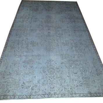 Sale Pale Blue Color Overdyed Handmade Rug  with Medallion Design 9'4'' x 5'4''  feet