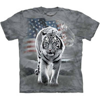 PATRIOTIC WHITE TIGER T-Shirt The Mountain USA American Flag S-3XL NEW