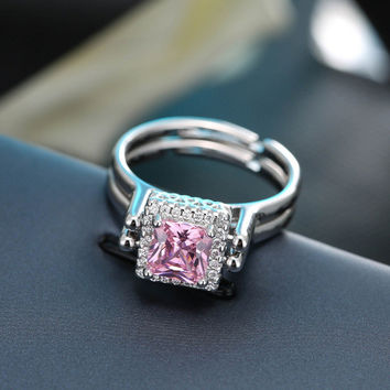 New Arrivals 925 Sterling Silver Big Pink and Clear Zirconia Rings For Women Adjustable Size Fashion sterling-silver-jewelry