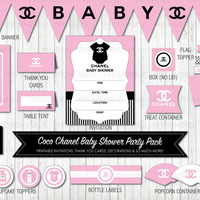 Baby Pink Coco Chanel Themed Baby Shower Printable Party Pack Bundle