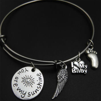 You are my Sunshine Bracelet, Angel Wing, I love my baby, baby foot, bangle bracelet, you aremy sunshine,