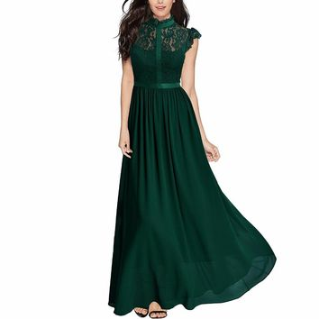 Women's Formal Floral Lace Cap Sleeve Evening Party Maxi Dress Chiffon Long Dresses