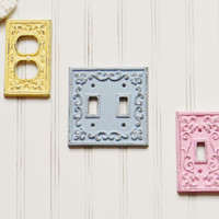 Light Switch Plate Cover, Choose your Color, Shabby Chic Switch Cover, Cast Iron Switch Cover, Double Switch Plate, Switch Plate