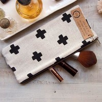 Modern Cross Canvas Clutch