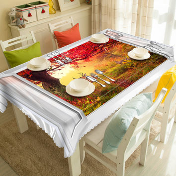 New 3D Tablecloths Red Forest Printing Waterproof/oil-proof Thicken Multi-size Rectangular/Circular Tables Home-T009