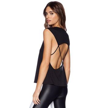 DCCK6HW Women Fashion Solid Color Hollow Backless Sleeveless T-shirt Tops