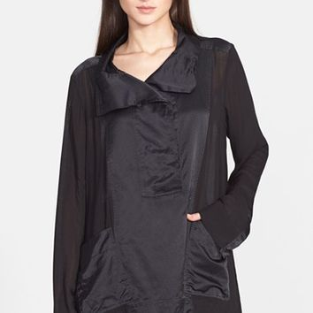 Women's Donna Karan New York Satin & Voile Shirt