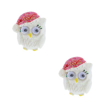 Glitter Santa Owl Stud Earrings