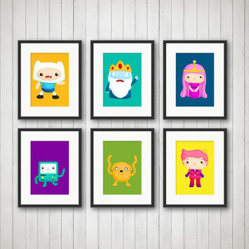 Adventure Time Prints, Boys Room Decor, Game Boy Decor, Kids Room Decor, Girls Room Decor, Adventure Time Decor, 5x7 or 8x10 Prints