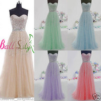 Long Tulle Sequins Prom Dress Quinceanera Ball Gown Formal Party Dress in Stock