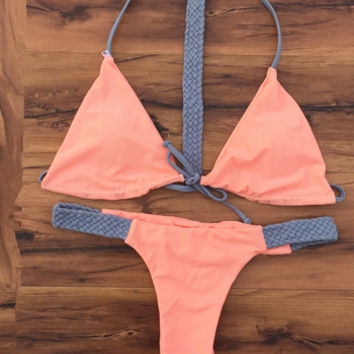 2016 New Sexy Handmade Belt Bikini Set Fashion Female Push Up Swimwear Swimsuit Pink Bathing Suit maillot de bain
