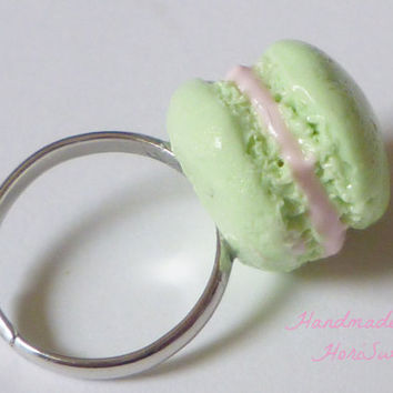 Cute Macaron Pinky Ring, Kawaii Polymer Clay Sweets Adjustable Ring, Mint Green Macaron, Sweet Lolita or Fairy Kei Jewelry, Harajuku Fashion