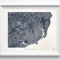 Florida, Pensacola, Print, Map, FL, Poster, State, City, Street Map, Dorm, Art, Decor, Town, Illustration, Room, Wall Art, Customize